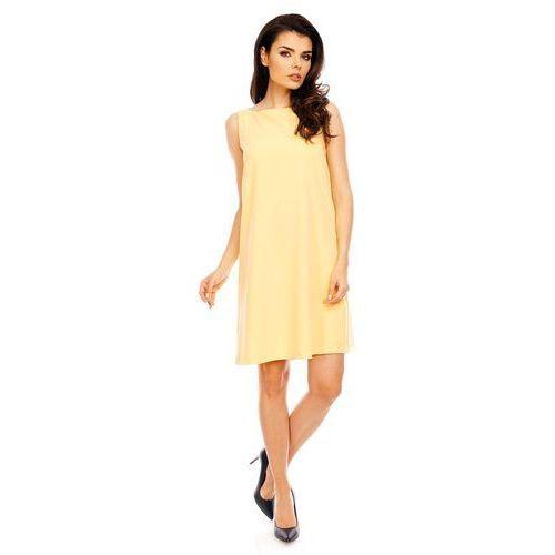 Żółta wyjściowa sukienka trapezowa bez rękawów marki Nommo