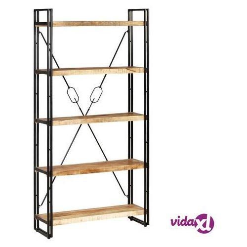 Vidaxl regał na książki z drewna mango i stali, 5 półek, 90x30x180 cm (8718475603580)