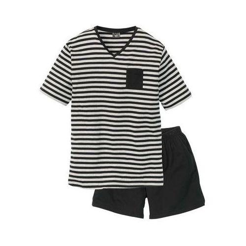 Piżama z krótkimi spodenkami bonprix czarno-jasnoszary melanż w paski, w 2 rozmiarach