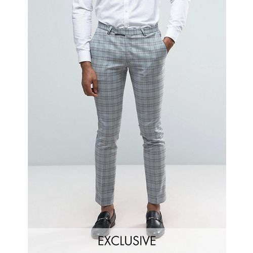 super skinny wedding suit trousers in check - grey marki Noose & monkey