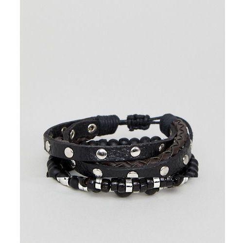 studded leather and bead bracelet pack in burnished silver - black marki Asos