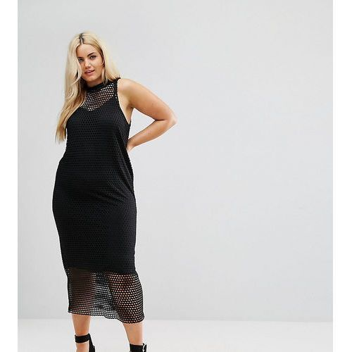 2 in 1 maxi dress in large mesh - black marki Asos curve