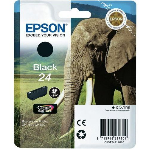 EPSON 24 ink cartridge black standard capacity 5.1ml 240 pages 1-pack blister without alarm