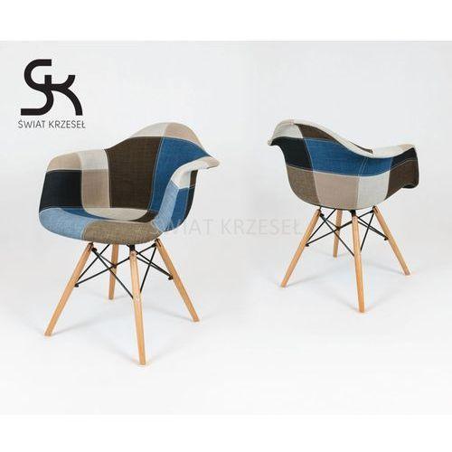 SK DESIGN KR012F TAPICEROWANY FOTEL PATCHWORK 6 - Niebieski ||Kolorowy \ Drewno buk