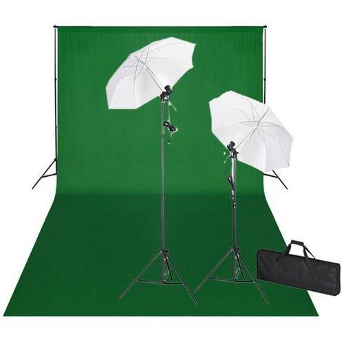 Vidaxl  zestaw do studio: zielone tło 600x300 i światła (8718475821762)