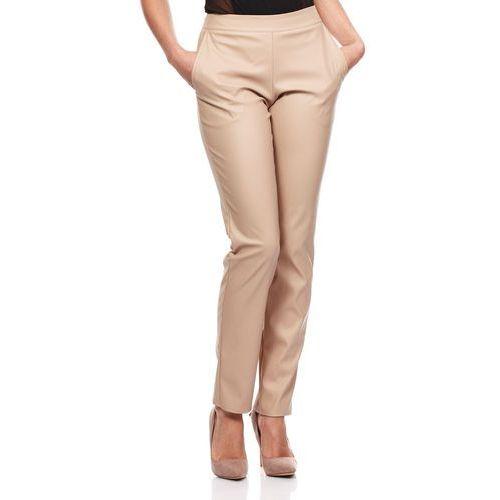 Beżowe Eleganckie Spodnie Rurki z Eko-skóry, ekoskóra