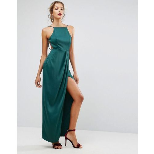 Asos drape front delicate back satin maxi dress - green marki Asos design