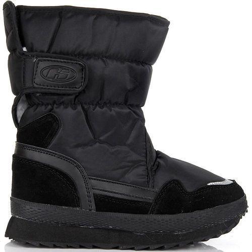 Półskórzane czarne buty zimowe dziecięce śniegowce Hasby - czarny