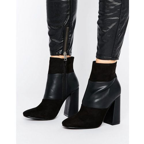 New Look Suedette Panelled Heeled Ankle Boots - Black
