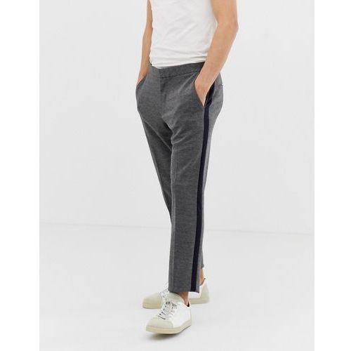 Burton Menswear skinny fit smart jersey trousers with side stripe in grey - Grey