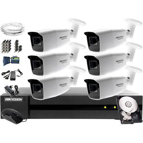 Monitoring składowiska odpadów wysypiska Hikvision Hiwatch HWD-6108MH-G2, 6 x HWT-B323-Z, 1TB, Akcesoria, ZM11251