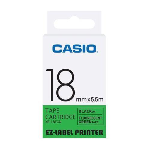 Casio taśma etykiet fluorescencyjna XR-18FGN, XR18FGN, XR-18FGN