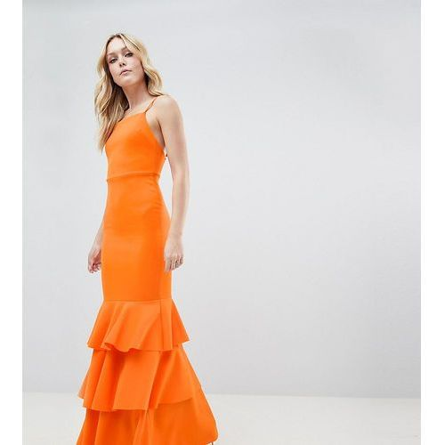Asos tall Asos design tall square neck scuba maxi dress with ruffle hem - orange