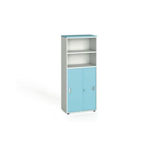 B2b partner Szafa biurowa, przesuwne drzwi na 3 półki, 1781x800x420 mm, biały / turkusowy