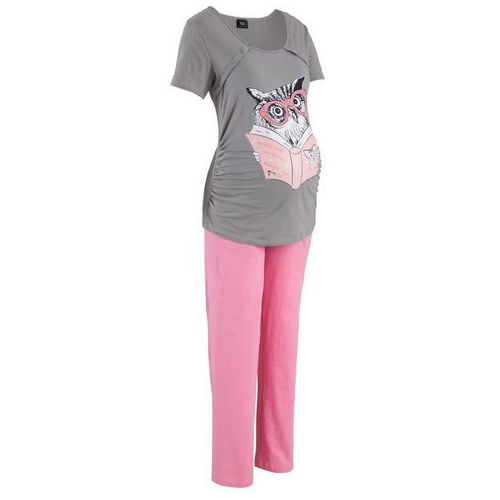 Piżama do karmienia bonprix szaro-jasnoróżowy, w 4 rozmiarach