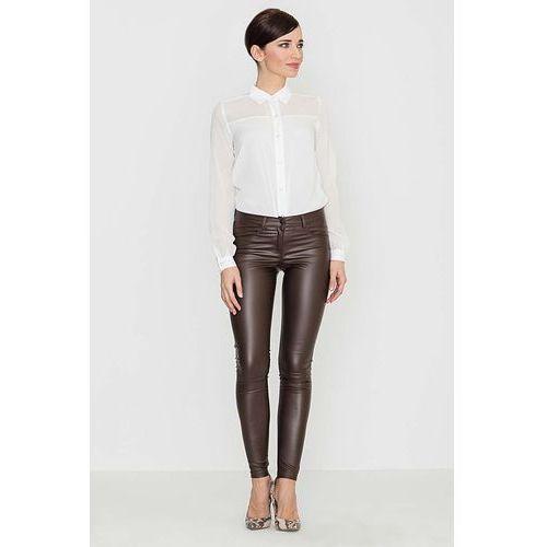 Brązowe woskowane spodnie z prostymi dopasowanymi nogawkami, Katrus, 36-42
