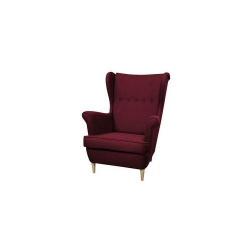 ••• Fotel Uszak Kamea bordowy – WYBÓR KOLORU NÓŻEK – PROMOCJA – DARMOWA DOSTAWA •••, kolor czerwony