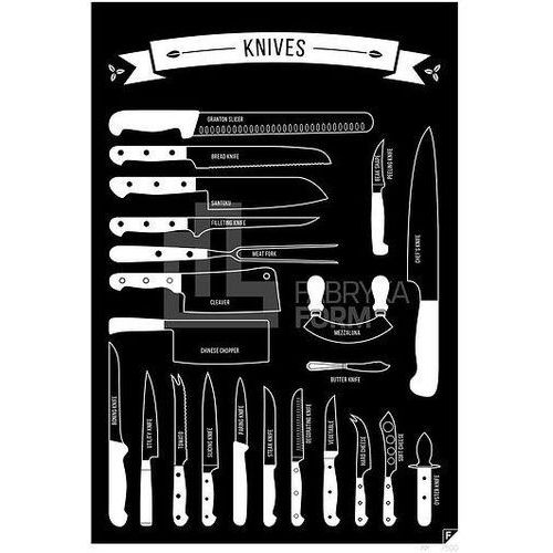 Plakat types of knives czarny 21 x 30 cm marki Follygraph