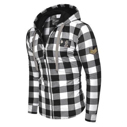 Modna koszula z kapturem rl60 - czarna, w 5 rozmiarach