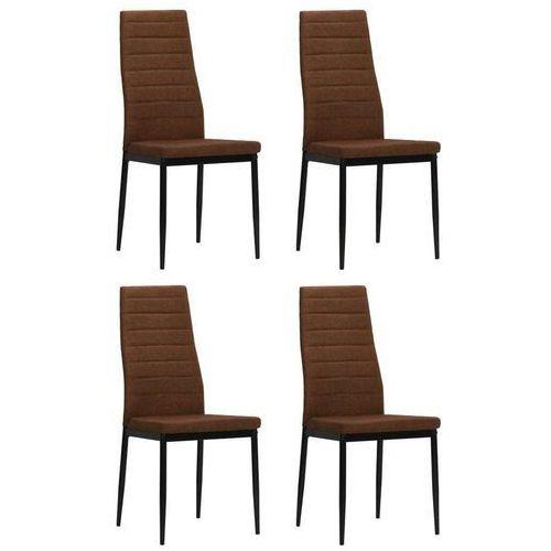 Krzesła jadalniane obite tkaniną, 4 szt., brązowe marki Vidaxl
