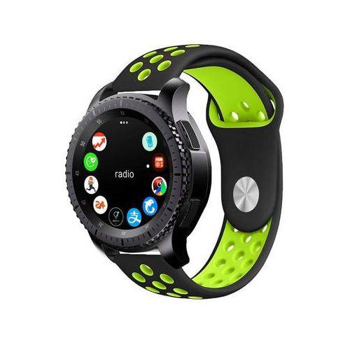 Sportowy pasek soft band Samsung Gear S3 / watch 46mm czarno-zielony - Czarny   Zielony