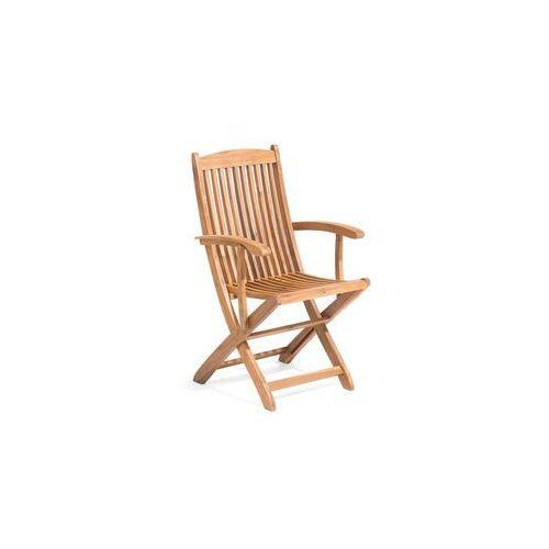 Krzesło ogrodowe jasnobrązowe drewno akacjowe z podłokietnikami maui marki Beliani