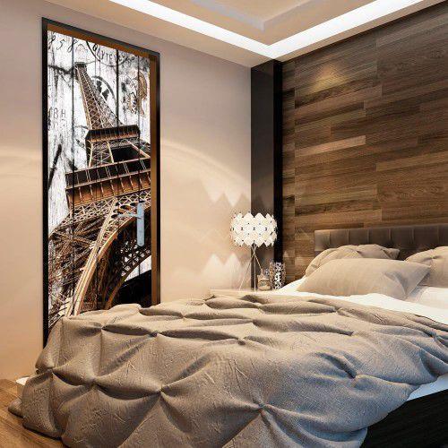 Artgeist Fototapeta na drzwi - tapeta na drzwi - wieża eiffla na drewnie