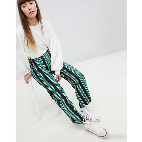 stripe wide leg trouser - green marki New look