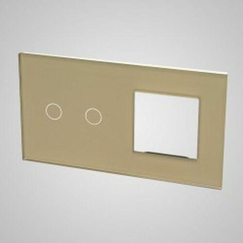 TouchMe Duży panel szklany, 1 x łącznik podwójny, 1 x ramka, złoty TM702728G