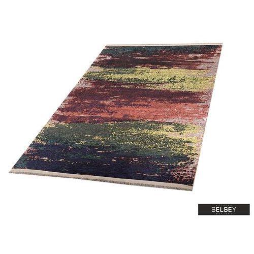 chodnik folkfur przecierane pasy z burgundem 75x300 cm marki Selsey