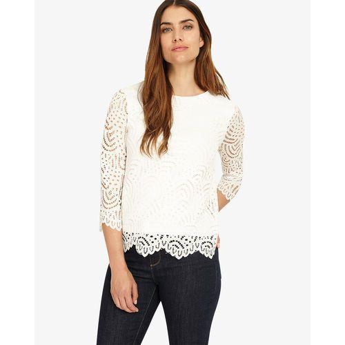 Phase Eight 3/4 Sleeve Tessa Lace Top, kolor beżowy
