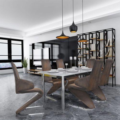 vidaXL Krzesła jadalniane z podłokietnikami brązowe 6 sztuk