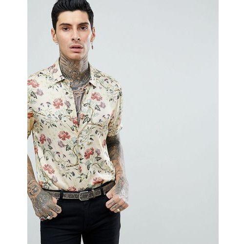 ASOS DESIGN regular fit satin viscose shirt with floral design in ecru - Beige