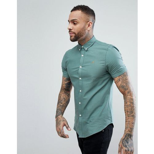 Farah Brewer Slim Fit Short Sleeve Oxford Shirt in Green - Green, kolor zielony