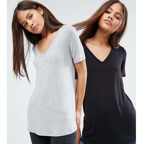 the new forever t-shirt with short sleeves and dip back 2 pack - multi, Asos tall