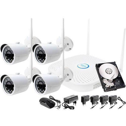 Zestaw do monitoringu bezprzewodowy wifi ip: rejestrator sieciowy 4 kanałowy ip, 4x kamera ip, dysk 500gb, akcesoria marki Ivelset