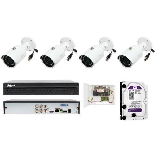Kompletny monitoring firmy Dahua z 4 kamerami tubowymi o rozdzielczości FULL HD