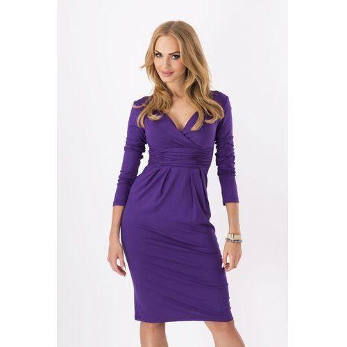 Fioletowa Elegancka Sukienka Midi z Kopertowym Założeniem