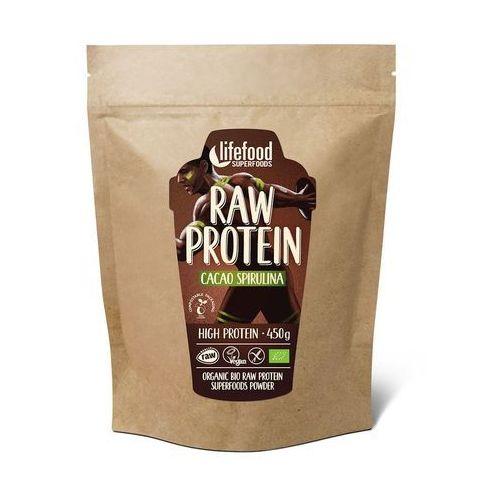 Białko roślinne z kakao i spiruliną RAW bezglutenowe BIO 450g LIFEFOOD (8594071482381)
