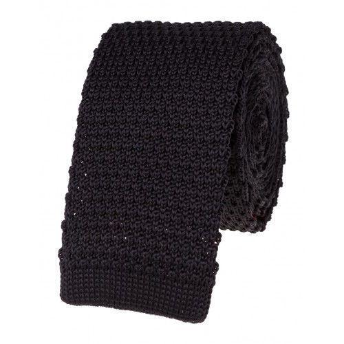 Krawat knit dzianinowy czarny FXD55-23