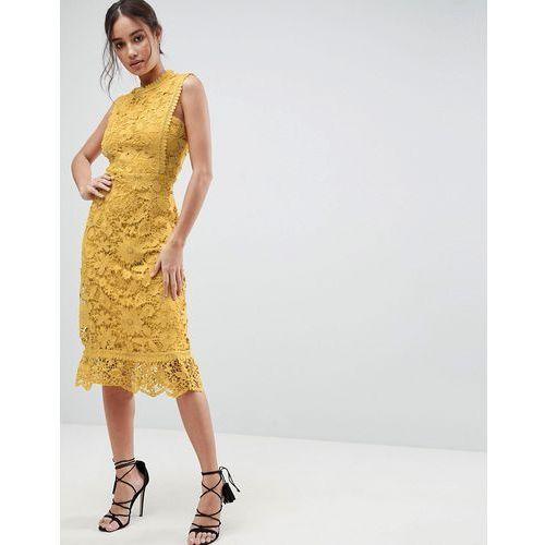 Boohoo Bib Detail Lace Midi Dress - Brown