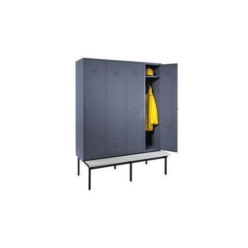 Szafka na ubrania z ławeczką u dołu,pełne drzwi, szer. przedziału 400 mm, 4 przedziały