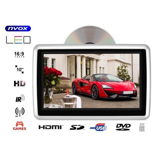 """Nvox Monitor samochodowy zagłówkowy led 10"""" hd z hdmi dvd usb sd ir fm gry 12v"""