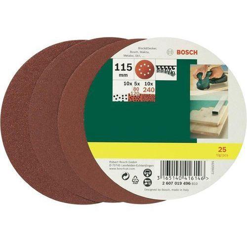 Zestaw arkuszy ściernych Bosch, ziarnistość: 80 - 240, śr. 115 mm, 25 szt., 2607019496