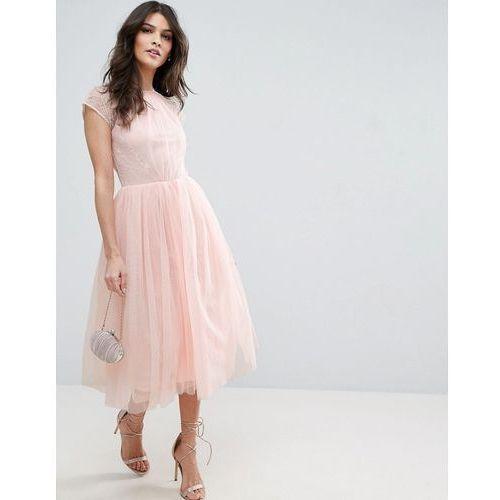 premium lace tulle midi prom dress - pink marki Asos
