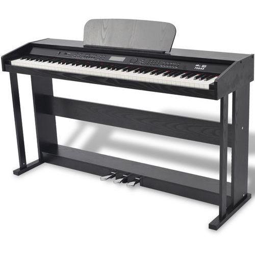 vidaXL 88 klawiszy pianino cyfrowe z pedałami czarna płyta melaminowa