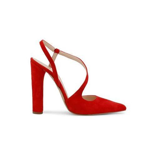Czerwone sandałki na słupku damskie - diamante-cam-66 marki Made in italia
