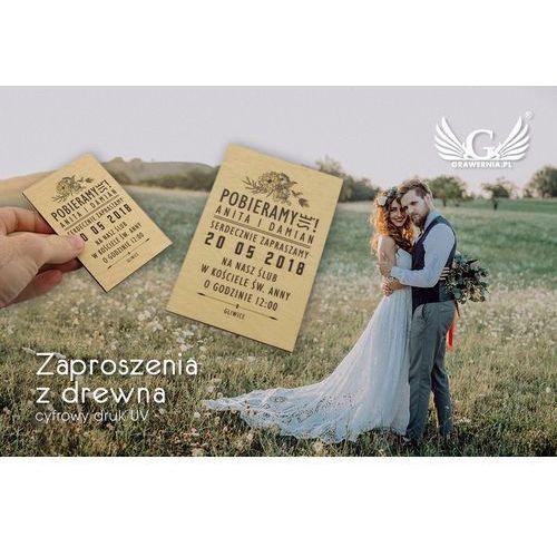 Zaproszenia ślubne z drewna - cyfrowy druk uv - zap004 marki Grawernia.pl - grawerowanie i wycinanie laserem