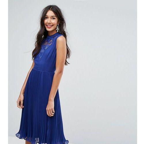 ASOS TALL Sleeveless Lace Insert Midi Dress - Red, kolor czerwony