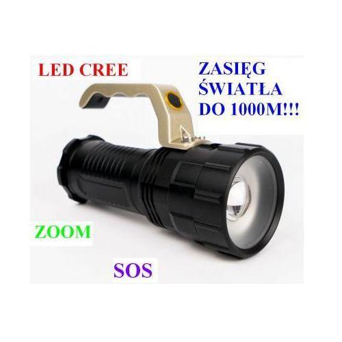 Profesjonalna Akumulatorowa Policyjna Latarka Szperacz (zasięg do 1000m.!!) LED CREE + ZOOM + SOS..., 59077341607
